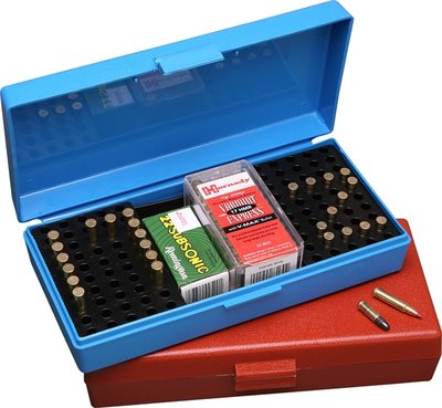 Ammo Box 100 Round 22 Long Rifle Rimfire Competition Blue